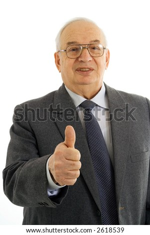 Successful mature businessman with thumbs up isolated on white - stock photo