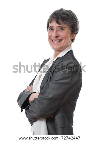 successful mature businesswoman standing isolated on white - stock photo