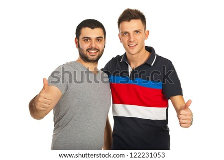 Successful men friendship giving  thumbs up isolated on white background - stock photo
