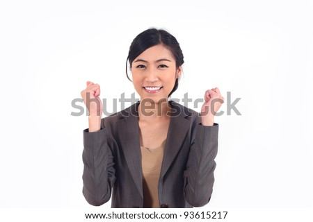 Successful modern Asian business woman on white background - stock photo