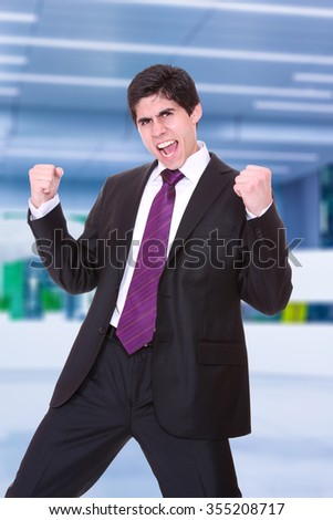 Successful of business man in suit at the office lobby - stock photo