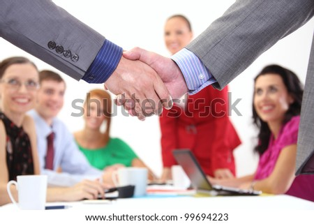 successful partnership in the office - stock photo