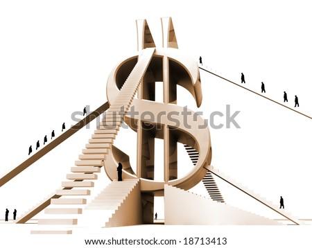 Successful progress upwards on a business ladder - stock photo