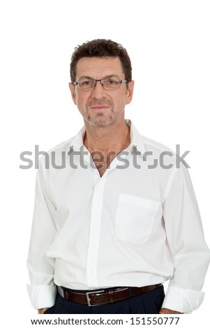 successful selfconfident smiling adult businessman isolated on white - stock photo