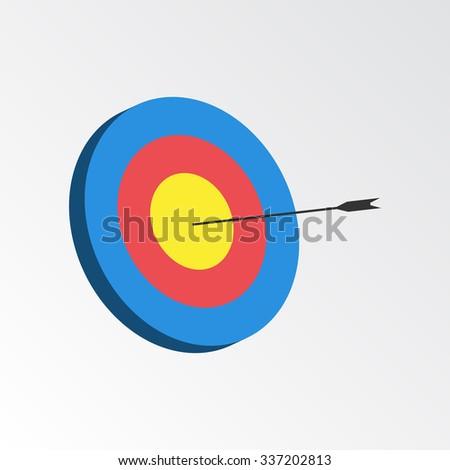 Successful shoot. Darts target aim icon. Reaching goal concept. Illustration. - stock photo