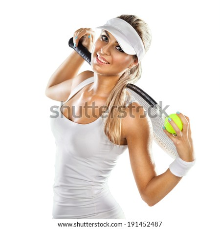Successful sportswoman with racket at the tennis court. Healthy lifestyle. Isolated on white background - stock photo