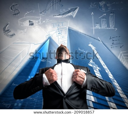 Successful super hero businessman with business sketch - stock photo