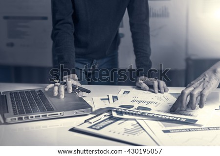 Successful teamwork concept; female business woman working in her office, vintage style. - stock photo
