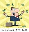 Successful White Businessman Standing Under Falling Money - stock photo