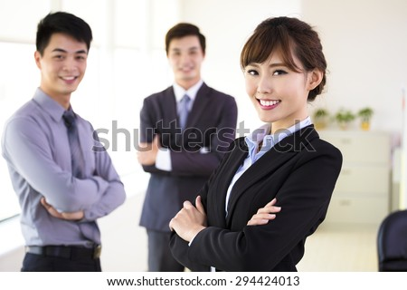 successful young business team standing in office - stock photo
