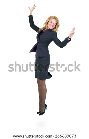 Successful young business womanjumping. Isolated full body image on white background. Caucasian businesswoman. - stock photo