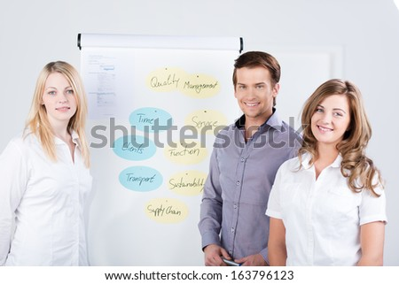 Successful young motivated business team consisting of two businesswomen and a male colleague giving a presentation standing in front of a flip chart with a diagram - stock photo