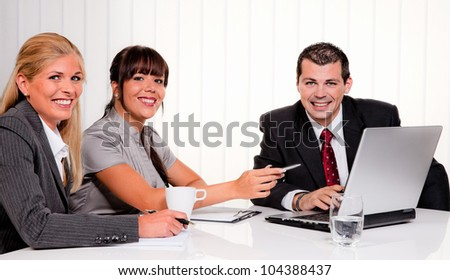successful young team at a meeting in the office - stock photo