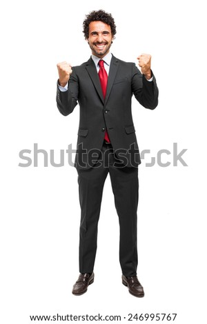 Successfull businessman isolated on white - stock photo
