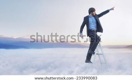 Successfull businessman reaching the top - stock photo