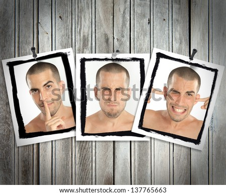 Succession of pictures posted on a wooden wall of a young man mimicking see no evil, hear no evil, speak no evil - stock photo