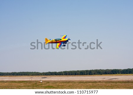 SUCEAVA,ROMANIA -  AUGUST 04 :Air Performance by Romanian Air-club at Suceava airshow on August 04, 2012 in Suceava, Romania - stock photo