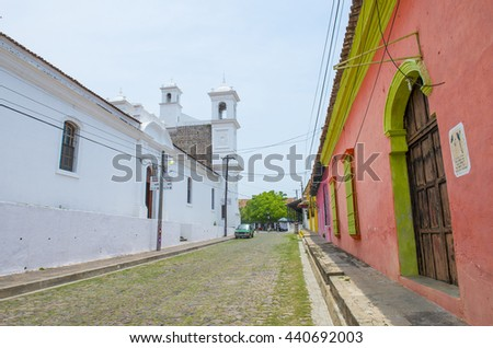 SUCHITOTO , EL SALVADOR - MAY 07 : Street view of Suchitoto El Salvador on May 07 2016. the colonial town of Suchitoto built by the Spaniards in the 18th century - stock photo