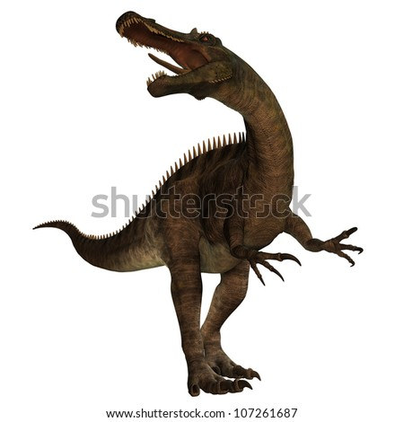 Suchomimus 01 - Suchomimus was a large Spinosaurid dinosaur with a crocodile-like set of jaws. It lived in the Cretaceous period in Africa, when it was a lush swampy habitat. - stock photo