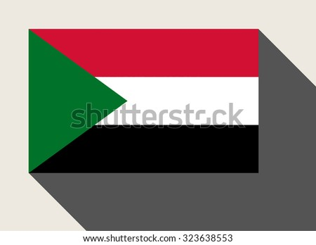 Sudan flag in flat web design style. - stock photo