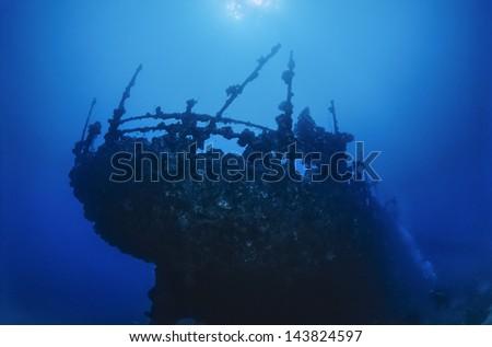 SUDAN, Red Sea, U.W. photo, wreck, the stern of the sunken ship - - stock photo