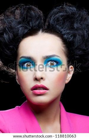 Sudden fright on the face of beautiful girl - stock photo