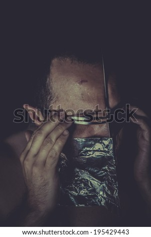 Suffer, concept of mental disorder, schizophrenia and depression - stock photo