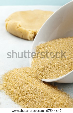 sugar and dough, means for making cookies - stock photo