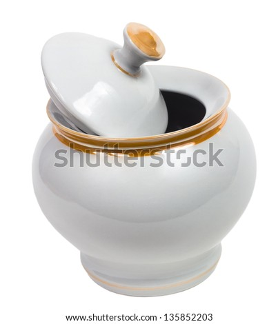 sugar-bowl empty cup isolated on white background clipping path - stock photo