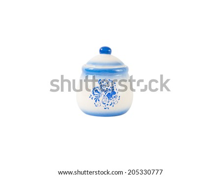 sugar-bowl painted in gzhel, isolated on a white background. Clipped path included - stock photo