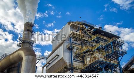sugar cane industry sky - stock photo