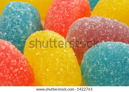 sugar coated jelly candies close up - stock photo