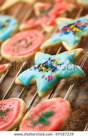 Sugar cookies on a rack - soft focus - stock photo