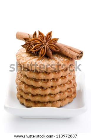 Sugar cookies with an anise and cinnamon - stock photo