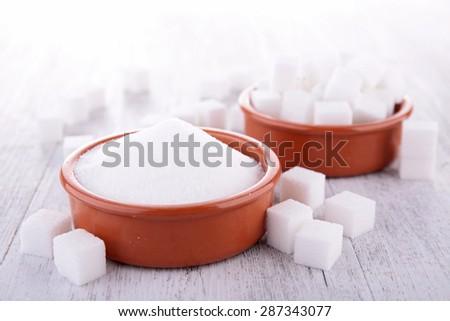 sugar cube and powder - stock photo