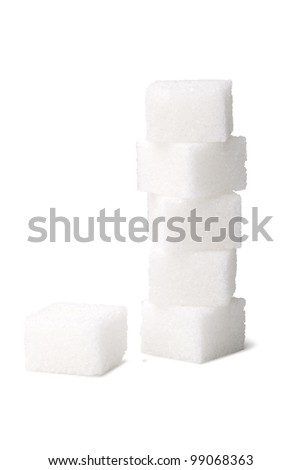 Sugar cube isolated on a white background - stock photo