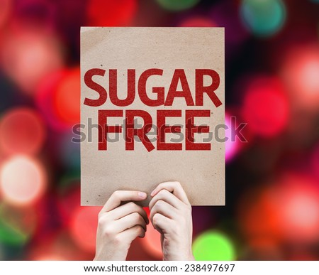 Sugar Free card with colorful background with defocused lights - stock photo