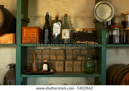 Sugar & gin for sale at the store of Fort Snelling in 1820s. More with keyword Series08G. - stock photo