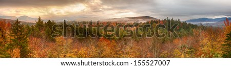Sugar Hill Panoramic New Hampshire in Autumn - stock photo