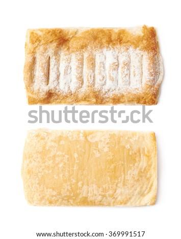Sugar powder covered strudel bun - stock photo