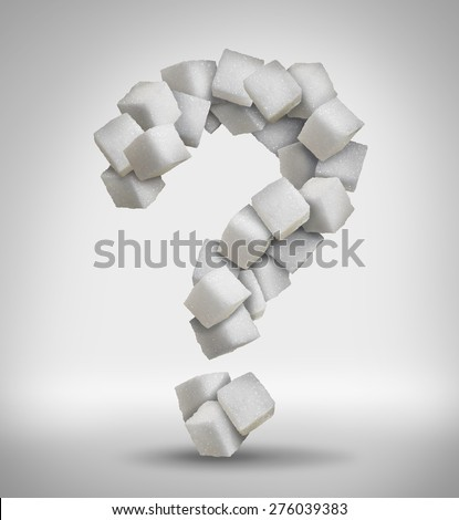 Sugar questions concept sweet food ingredient with a close up of a pile of white cubes shaped as a question mark as a confusion symbol of diet health risks related to diabetes and calorie intake. - stock photo