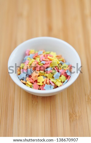 Sugar sprinkle dots, decoration for confectionery - stock photo