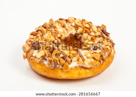 sugary donuts over white background - stock photo