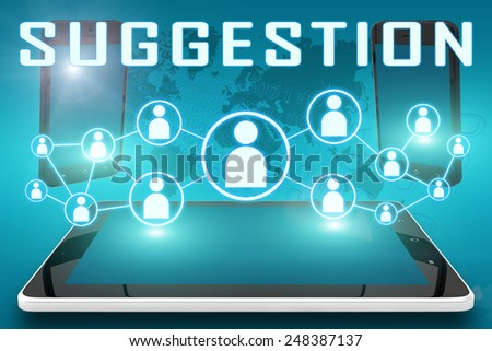 Suggestion - text illustration with social icons and tablet computer and mobile cellphones on cyan digital world map background - stock photo