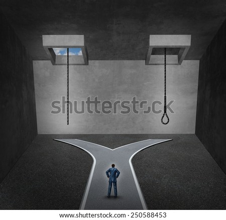 Suicide concept as a person facing a difficult psychological dilemma between a rope with a noose or a life line as a metaphor for a mental disorder suffering due to depression or chemical imbalance. - stock photo