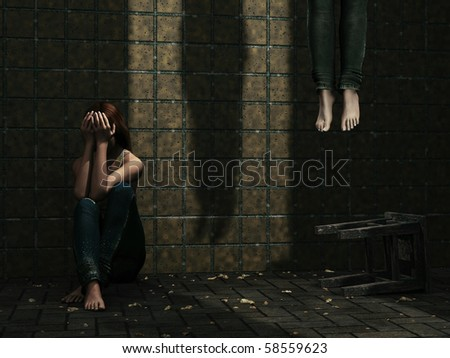 Suicide girl - stock photo