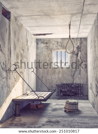 Suicide noose in the prison cell interior. 3d concept - stock photo