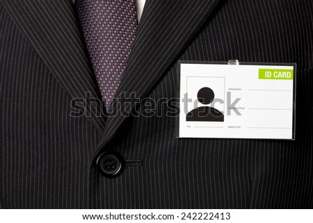 Suit and ID Card - stock photo