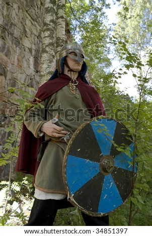 Suit of northern viking, reconstruction - stock photo