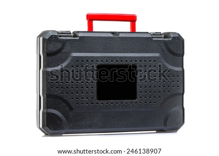 suitcase for instruments on a white background - stock photo